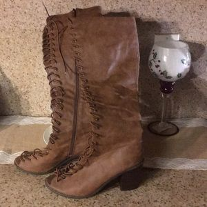 Brown breckelles gladiator knee high boots